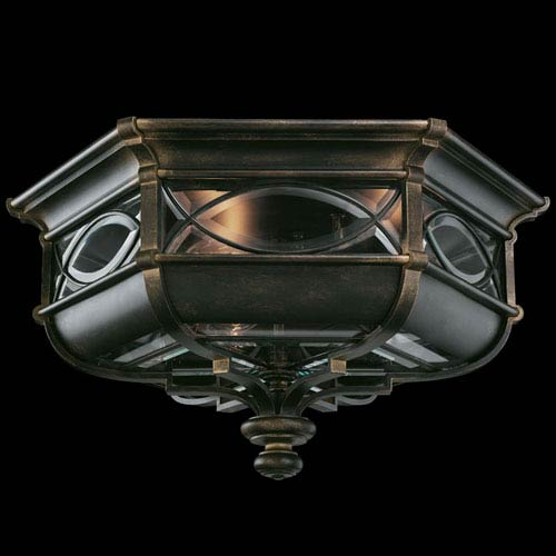 Fine Art Lamps Warwickshire Three-Light Outdoor Flush Mount in Wrought Iron Patina Finish