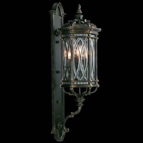Fine Art Lamps Warwickshire Four-Light Outdoor Wall Mount in Wrought Iron Patina Finish