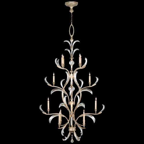 Fine Art Lamps Beveled Arcs 16-Light Chandelier in Warm Muted Silver Leaf Finish