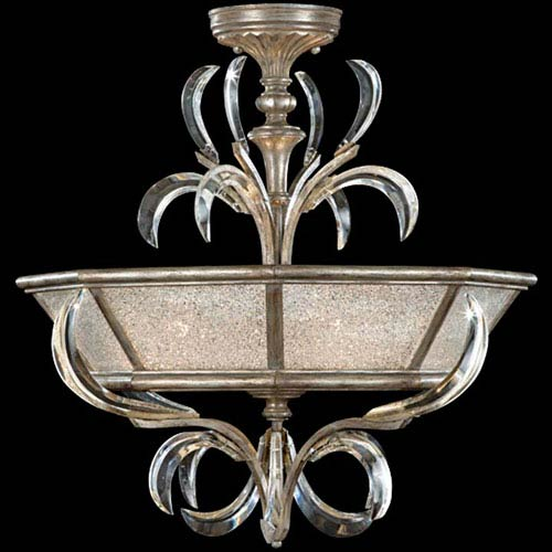 Fine Art Lamps Beveled Arcs Three-Light Semi-Flush Mount in Warm Muted Silver Leaf Finish