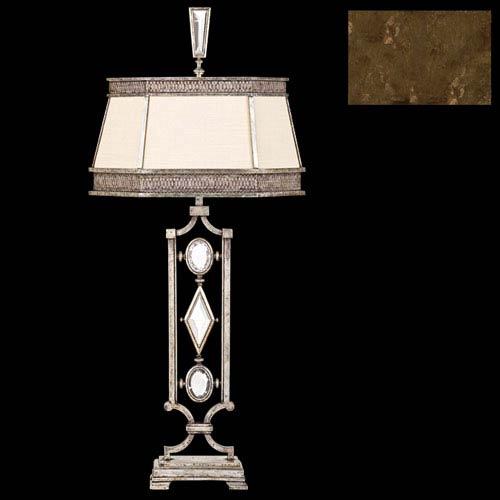 Fine Art Lamps Encased Gems One-Light Table Lamp in Venerable Bronze Patina Finish with Hand Sewn Laminated Silk Shantung