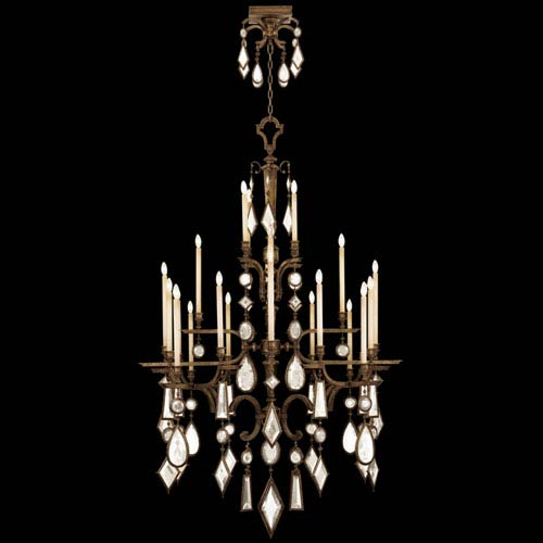 Encased Gems 24-Light Chandelier in Venerable Bronze Patina Finish with Clear Crystal Gems