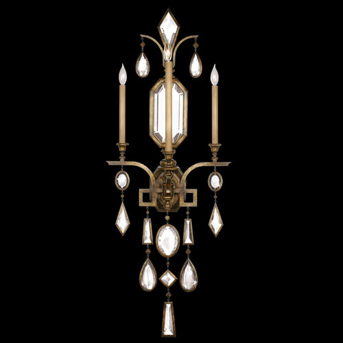 Fine Art Lamps Encased Gems Three-Light Wall Sconce in Venerable Bronze Patina Finish with Clear Crystal Gems
