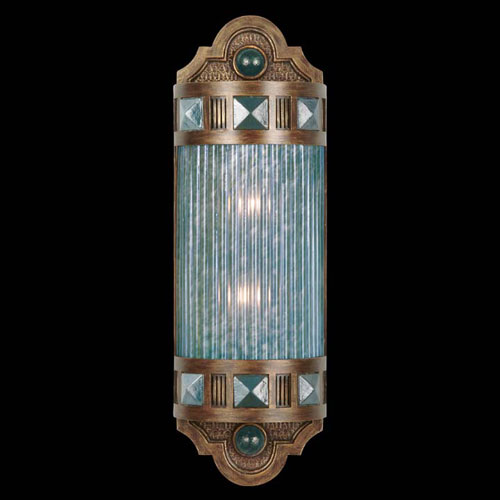 Fine Art Lamps Scheherazade Two-Light Wall Sconce in Aged Dark Bronze Finish with Hand Blown Glass in Vibrant Desert Sky Blue
