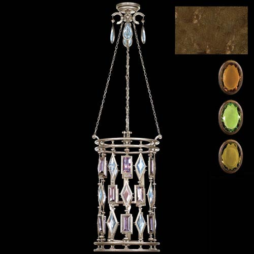 Fine Art Lamps Encased Gems Six-Light Lantern in Venerable Bronze Patina Finish with Multi-Colored Crystal Gems