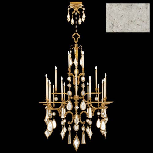 Fine Art Lamps Encased Gems 24-Light Chandelier in Silver Leaf Finish with Clear Crystal Gems
