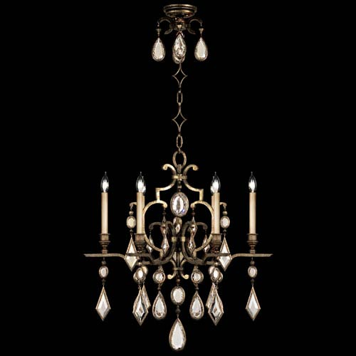 Encased Gems Six-Light Chandelier in Venerable Bronze Patina Finish with Clear Quartz Crystal Gems