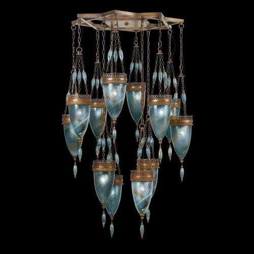 Fine Art Lamps Scheherazade 12-Light Pendant in Aged Dark Bronze Finish and Hand Blown Glass in Vibrant Desert Sky Blue Color
