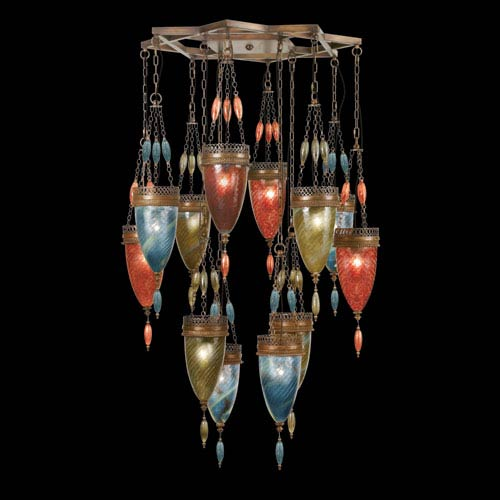 Fine Art Lamps Scheherazade 12-Light Pendant in Aged Dark Bronze Finish and Hand Blown Glass in Vibrant Oasis Green, Desert