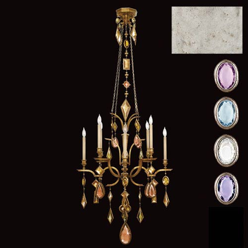 Fine Art Lamps Encased Gems Eight-Light Chandelier in Silver Leaf Finish with Multi-Colored Crystal Gems
