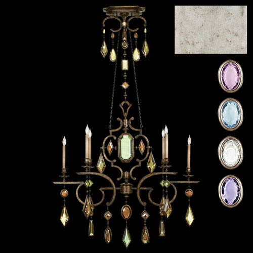 Fine Art Lamps Encased Gems Six-Light Chandelier in Silver Leaf Finish with Multi-Colored Crystal Gems