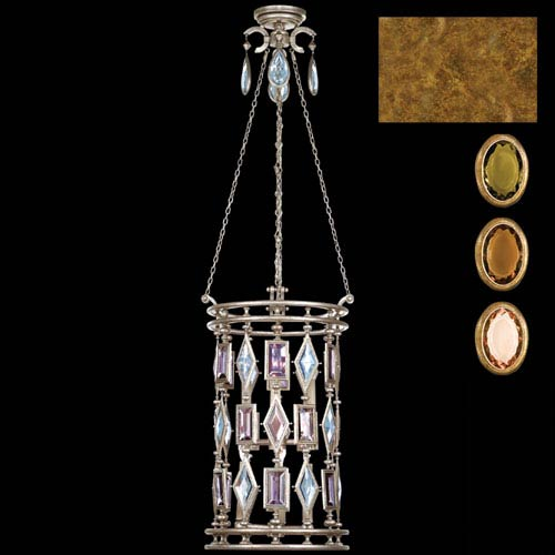 Fine Art Lamps Encased Gems Six-Light Lantern in Variegated Gold Leaf Finish with Multi-Colored Crystal Gems