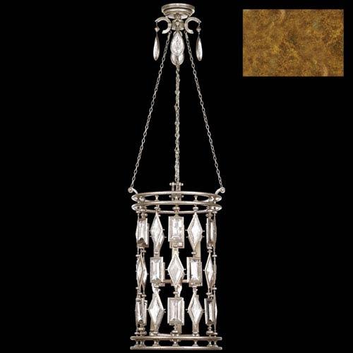 Encased Gems Six-Light Lantern in Variegated Gold Leaf Finish with Clear Crystal Gems