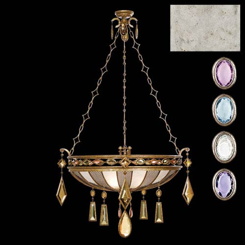 Fine Art Lamps Encased Gems Three-Light Pendant in Silver Leaf Finish with Multi with Colored Crystal Gems of Amethyst,