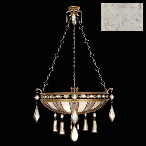 Fine Art Lamps Encased Gems Three-Light Pendant in Silver Leaf Finish with Clear Crystal Gems