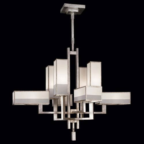 Fine Art Lamps Perspectives Silver Eight-Light Chandelier in Warm Muted Silver Leaf Finish