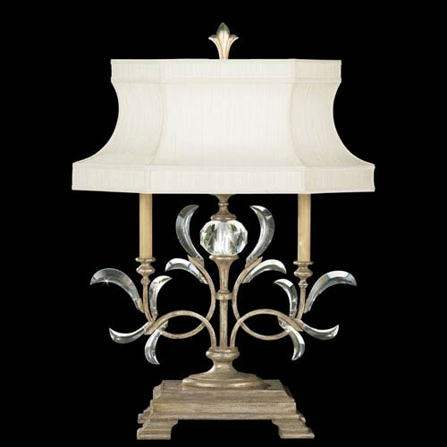 Fine Art Lamps Beveled Arcs One-Light Table Lamp in Warm Muted Silver Leaf Finish with Features Laminated Silk Shantung Shade