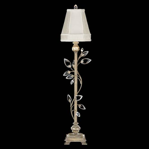 Fine Art Lamps Crystal Laurel One-Light Console Lamp in Warm Silver Leaf Finish with Stylized Faceted Crystal Leaves