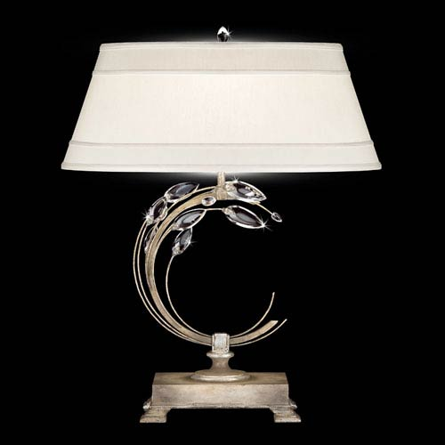 Fine Art Lamps Crystal Laurel One-Light Table Lamp in Warm Silver Leaf Finish