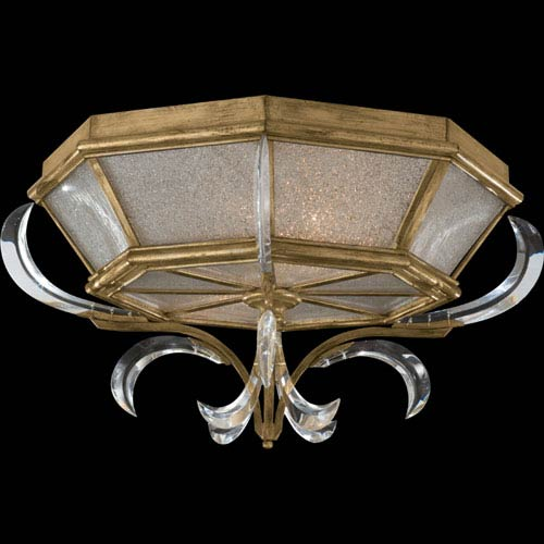 Beveled Arcs Two-Light Flush Mount in Muted Gold Leaf Finish