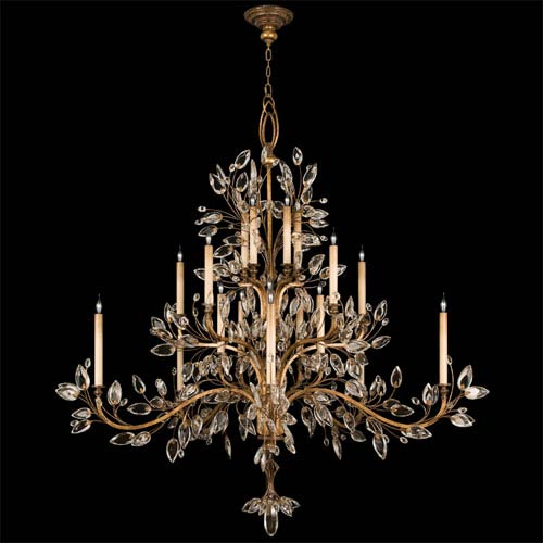 Fine Art Lamps Crystal Laurel Gold 20 Light Chandelier In Leaf Finish And Stylized Faceted Leaves