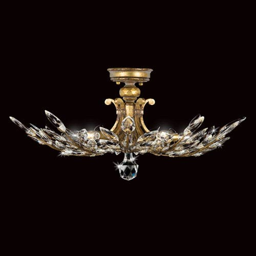 Crystal Laurel Gold Five-Light Semi-Flush Mount in Antiqued Warm Gold Leaf Finish with stylized faceted crystal leaves.