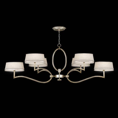 Fine Art Lamps Allegretto Six-Light Chandelier in Platinized Silver Leaf Finish