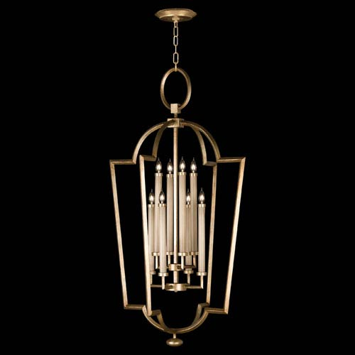 Fine Art Lamps Allegretto Eight-Light Lantern Pendant in Burnished Gold Leaf Finish