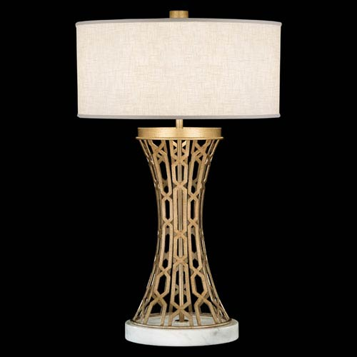 Allegretto One-Light Table Lamp with Burnished Gold Leaf Finish
