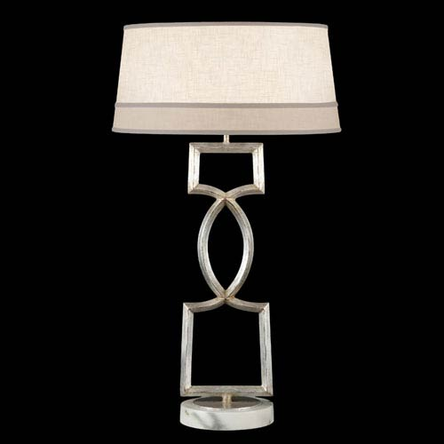 Allegretto One-Light Table Lamp in Platinized Silver Leaf Finish