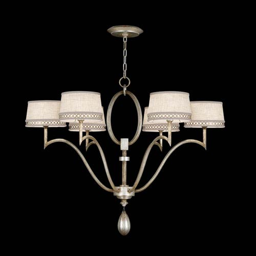Fine Art Lamps Allegretto Six-Light Chandelier in Platinized Silver Leaf Finish