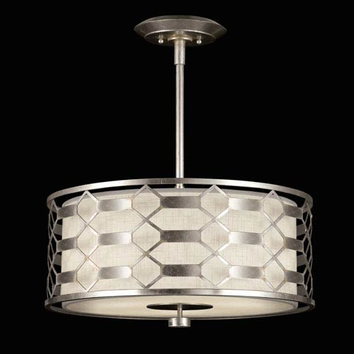 Fine Art Lamps Allegretto Three-Light Pendant in Platinized Silver Leaf Finish