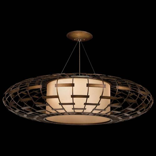 Entourage Three-Light Pendant in Bourbon Finish with Golden Mist Highlights and An Intricate Open with Work Metal Cage