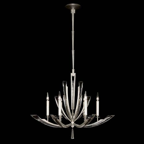 Fine Art Lamps Vol De Cristal Six-Light Chandelier in Platinized Silver Leaf Finish with Tapered Beveled Crystals