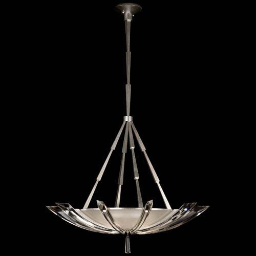 Fine Art Lamps Vol De Cristal Three-Light Pendant in Platinized Silver Leaf Finish