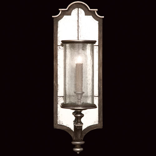Fine Art Lamps Villa Vista One-Light Wall Sconce in Hand Painted Driftwood Finish On Metal with Silver Leafed Accents and