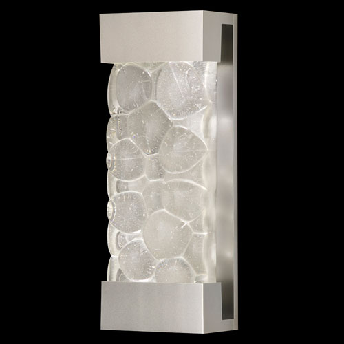 Crystal Bakehouse Two-Light Wall Sconce in Silver Finish with Handcrafted, Polished Block of Crystal River Stones