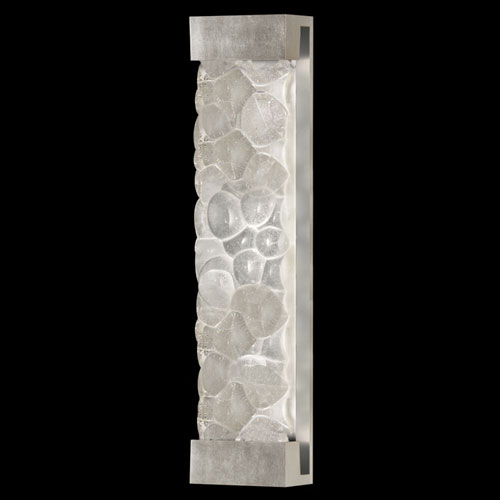 Fine Art Lamps Crystal Bakehouse Two-Light Wall Sconce in Silver Leaf Finish with Handcrafted, Polished Block of Crystal