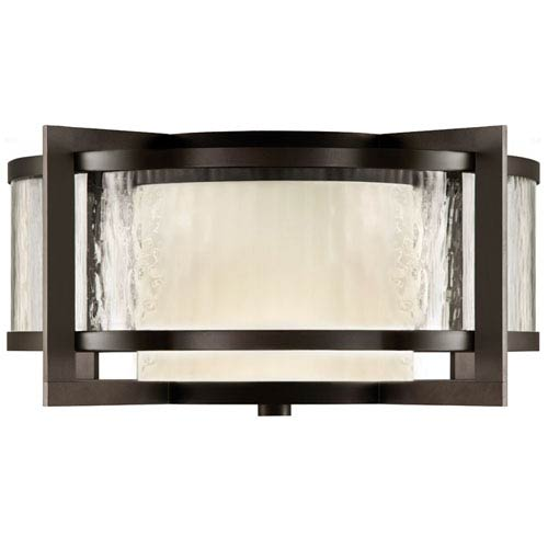 Fine Art Lamps Singapore Two-Light Outdoor Flush Mount in Dark Bronze Patina Finish