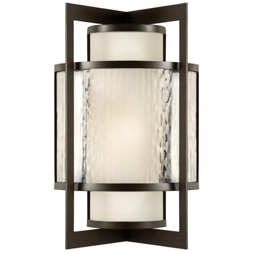 Fine Art Lamps Singapore One-Light Outdoor Wall Sconce in Dark Bronze Patina Finish
