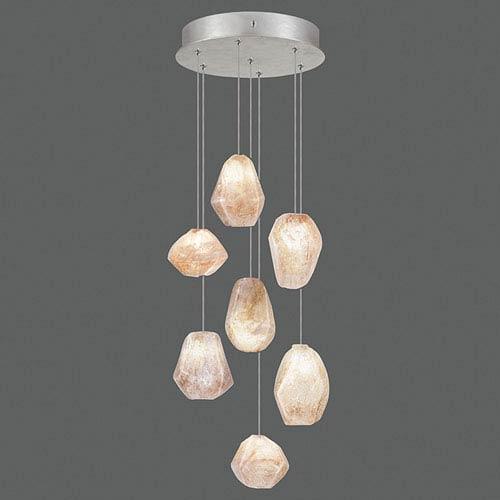 Natural Inspirations Silver Leaf Seven-Light  14-Inch Pendant