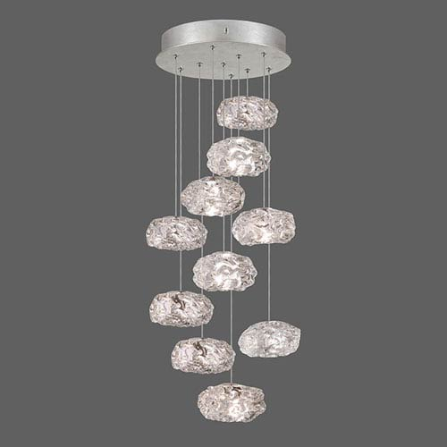 Natural Inspirations Silver Leaf Ten-Light  17-Inch Pendant