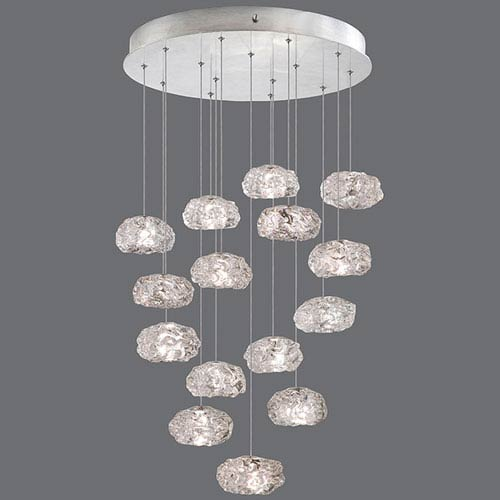 Natural Inspirations Silver Leaf 15-Light  21-Inch Pendant