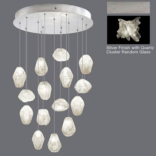 Natural Inspirations Silver Leaf 15-Light 21-Inch Pendant with Quartz Cluster Random Glass
