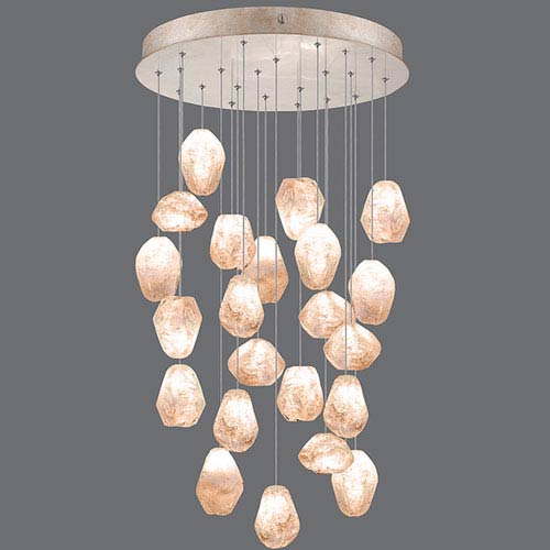 Natural Inspirations Gold-Toned Silver Leaf 22-Light  24-Inch Pendant