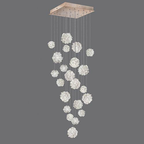Fine Art Lamps Natural Inspirations Gold-Toned Silver Leaf 22-Light  24-Inch Pendant