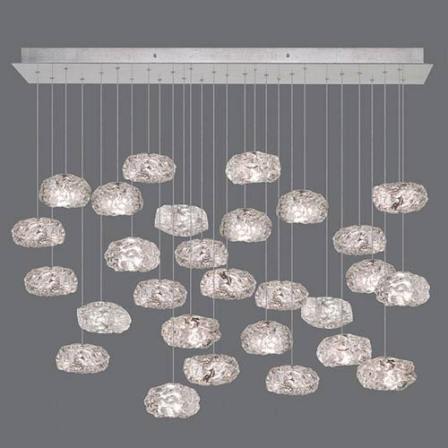 Natural Inspirations Silver Leaf 28-Light  54-Inch Pendant
