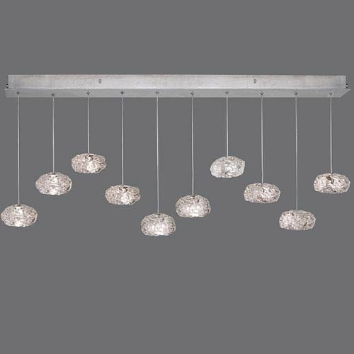 Natural Inspirations Silver Leaf Ten-Light  48-Inch Pendant