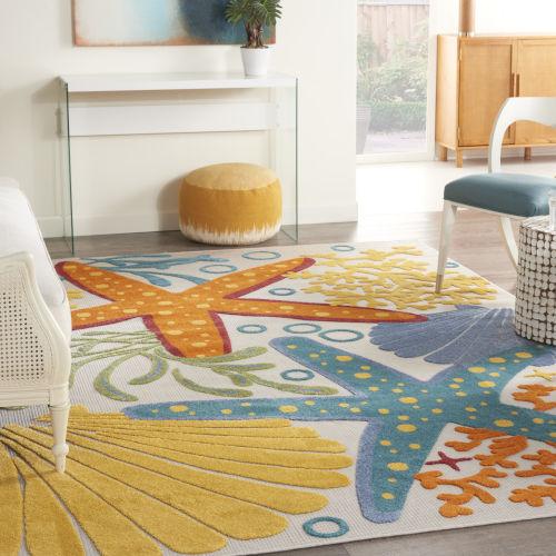 Aloha Orange and Blue Indoor/Outdoor Area Rug