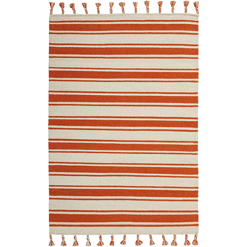 Solano Ivory and Orange Rectangular: 4 Ft. x 6 Ft. 6 In. Rug
